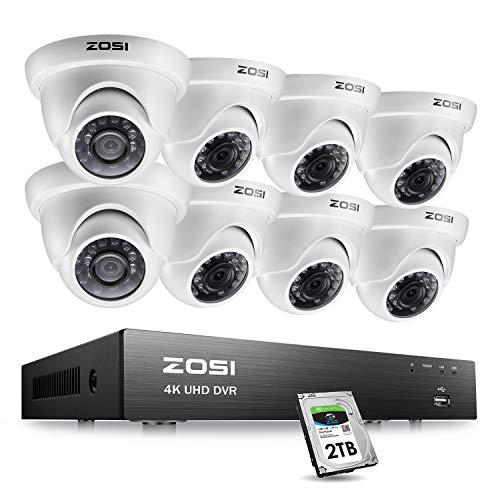 ZOSI 4K Ultra HD Security Cameras System, 8 Channel H.265+ 4K (3840×2160) Video DVR, 8 x 4K (8MP) Ip67 Surveillance Dome CCTV Camera, 100ft Night Vision, with 2TB Hard Drive