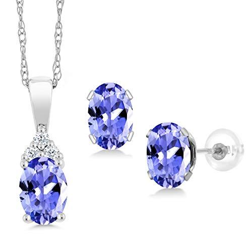 Gem Stone King 1.37 Ct Oval Blue Tanzanite White Diamond 10K White Gold Pendant Earrings Set