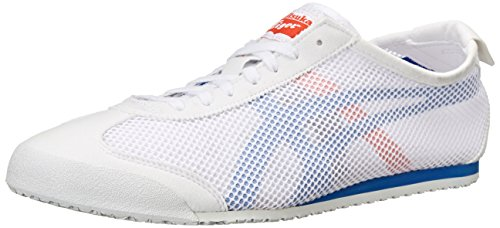 Onitsuka Tiger Mexico 66 Running Shoe, White/Strong Blue, 4.5 M US