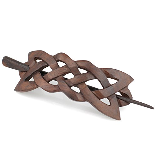 Evolatree Natural Hair Barrettes for Women and Men - Handmade Wood Barrette Hair Pin - Celtic Infinity Knot - 4
