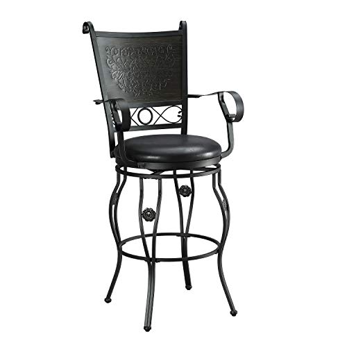 Powell PAMZN1466 Brock Stool, Matte Black and Grey