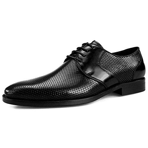Scarpe da Uomo in Pelle Tagliata da Uomo Scarpe Eleganti da Lavoro in Pelle Scarpe Casual da Uomo Derbys Smart Black