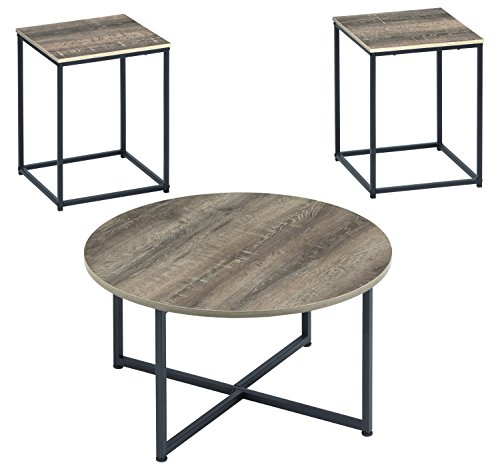 - Ashley Furniture Signature Design - Wadeworth Occasional Table Set - Set of 3 -  Distressed Style - Two-tone