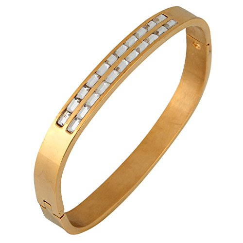 Stainless Baguette Steel Bracelet - The Jewelbox Baguette Crystal Openable 18K Gold Plated Surgical Stainless Steel Cuff Kada Bracelet