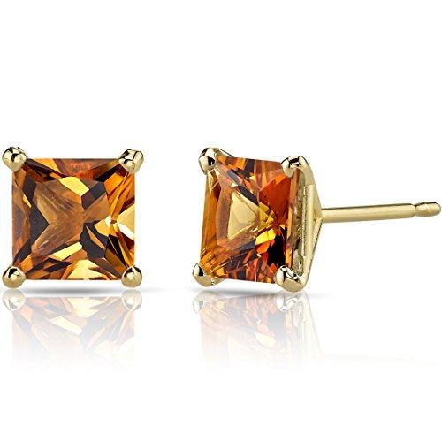 14K Yellow Gold Princess Cut 2.00 Carats Citrine Stud Earrings
