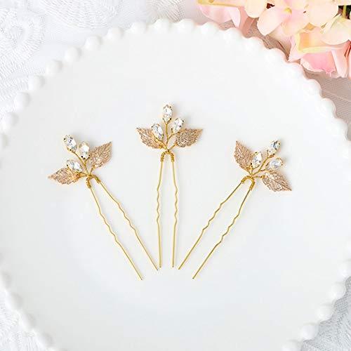Asooll Gold Wedding Crystal Hair Pins Bride Leaf Hair Piece Bridal Hair Clip Accessories for Women and Girls