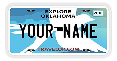 BleuReign(TM Personalized Custom Name 2017 Oklahoma State Car Vehicle License Plate Auto Tag with Free Matching Keychain