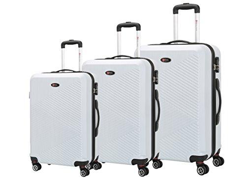 Brio Luggage PET Ridged Expandable Suitcase Set #C607 (White)