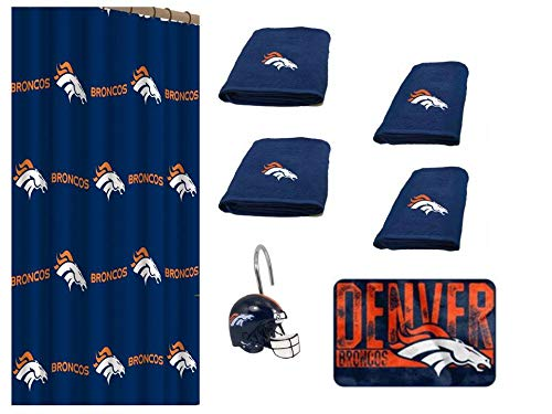 NFL Denver Broncos 18 Piece Bath Ensemble: Set Includes 1 Shower Curtain, 12 Shower Hooks, 2 Bath Towels, 2 Hand Towels 1 Bath (Denver Broncos Shower Curtain)