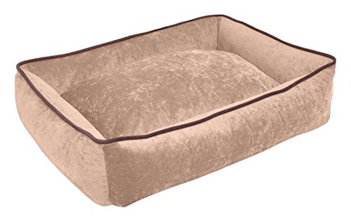 PUP IQ Smart Pup Mocha Lounger Dog Bed, Large Size, Mocha Colored, Crypton Stay Clean Suede Fabric, Waterproof, Made in the USA, Machine Washable With a Removable Cover by PUP IQ