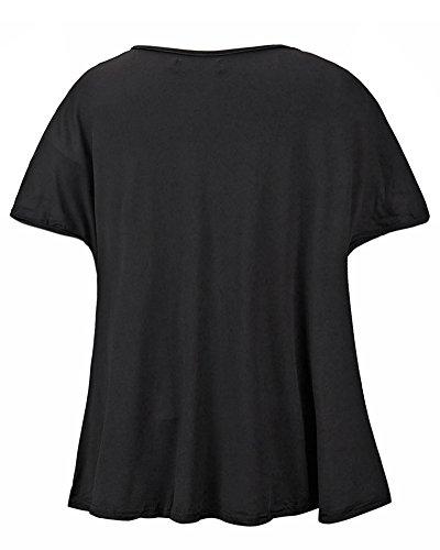 Mujeres Camiseta Con Manga Larga Cuello Redondo Camisa BLouses T Shirt Pullover Sudadera Negro