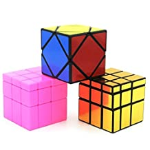 Heddi Magic Speed Cube Puzzle Skewb Mirror Cubes -Glod/Pink 3*3*3 Brain Teaser Puzzle Cube Bundle Box Pack