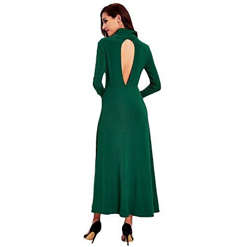 Lunga Abito Dezzal E Verde Collo Tagliato Nuovo Di Donne Manica Alto Bagliore Forma Delle In Lungo dqHd8Z