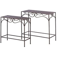 Home Locomotion Umber Wicker Nesting Hall Tables
