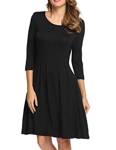 3/4 sleeve black dress target - 2