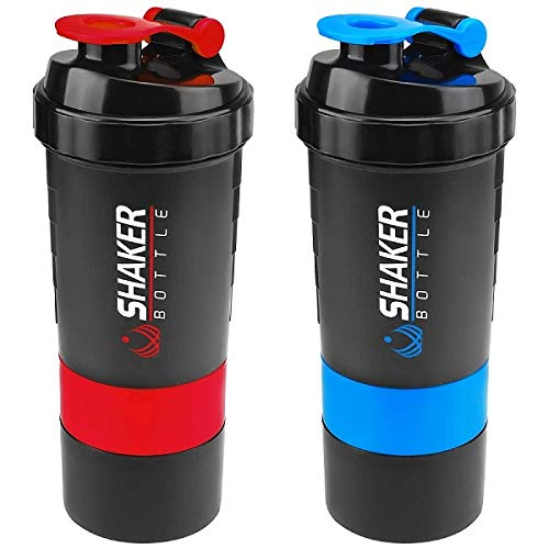 2 Pack Shaker Bottle with Stainless Steel Spring Coil for Better Mixing, Two Screw Off Cups for Snacks & Protein Powder, 500 ml / 16 oz ()