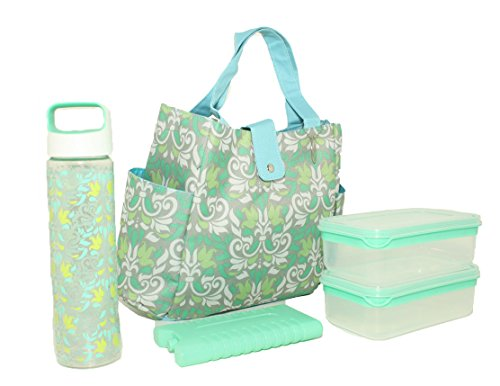 (SILVER ONE Durable & Reusable Premium Insulated Heavy Duty Tote Lunch Bag Set for Picnic/Beach | Button Snap Closure)