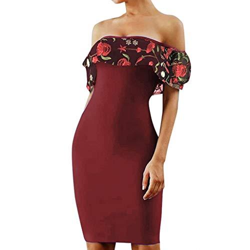 NEARTIME Wrap Dress Women Fashion Elegant Embroidered Slesh Neck Slim Fit Sexy Party Dress ()