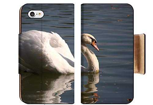 MSD Apple iPhone 8 Flip Pu Wallet Case Image ID: 29567357 White swan Floating on The Surface of a Pond - Surface Pond