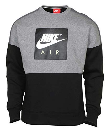Nike Men's Air Sport Casual Crew Sweatshirt (Heather Grey/Black, Small)