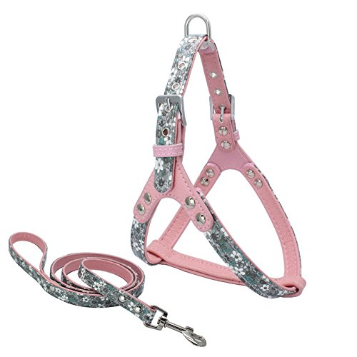 Miniwild-Leather-Pet-Harness-Leash-Set-for-Small-Dogs-Pink-with-Flower