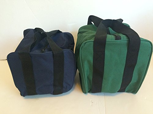 Unique Package - Pack of 2 Extra Heavy Duty Nylon Bocce Bags - Blue with Black Handles and Green with Black Handles by BuyBocceBalls