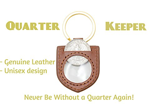 Heart Coin Case (Improved Design! Genuine Leather Quarter Keychain Holder (Brown) Holds One Quarter for Meters, Change or Aldi Shopping Cart Unisex design. Never be without a Quarter with this Aldi Quarter Keychain!)
