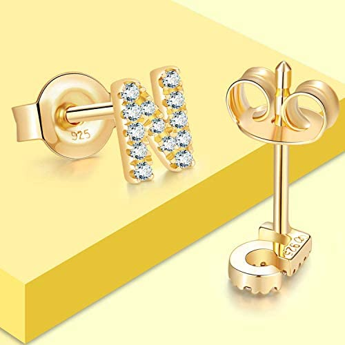 Jewlpire 925 Sterling Silver Initial Earrings | Letter Earrings for Women Girls, Hypoallergenic Fashion Alphabet Stud Earrings Cubic Zirconia Earrings Simulated Diamond Personalized Gift