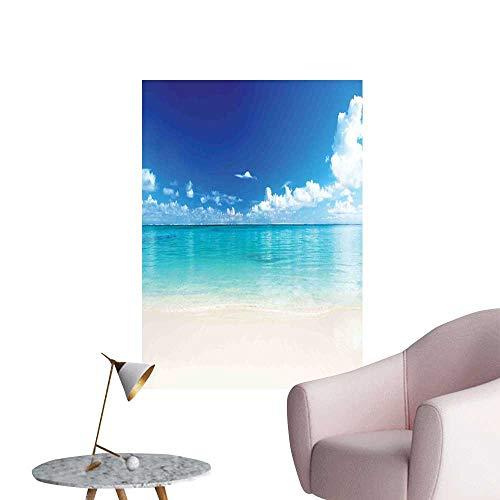 Ocean Decor Wall Mural Wallpaper Stickers Natural Coastal View Sand Sea Beach Carribean Sea Stair Elevator Side W16 x H20 - Stick Natural Coco Frame