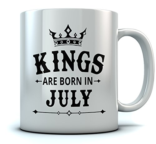 KINGS Are Born In July Coffee Mug - Birthday Gift for Men;Husband, Dad, Boyfriend, Uncle, Brother or Grandfather, Coworker July Birthday Gift Office Ceramic Mug 15 Oz. White