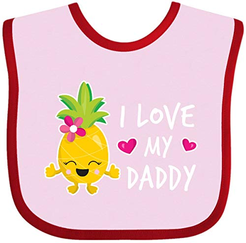 Inktastic - I Love My Daddy with Pineapple Baby Bib Pink and Red 30b82