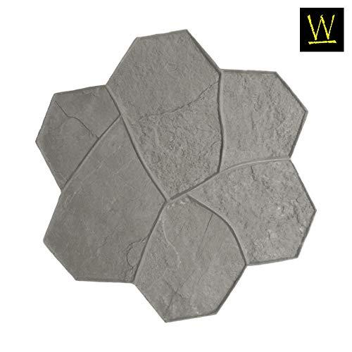 Original Random Stone Concrete Stamp Single by Walttools   Decorative Rock Tile Pattern, Sturdy Polyurethane Texturing Mat, Realistic Detail (Floppy, Flex)