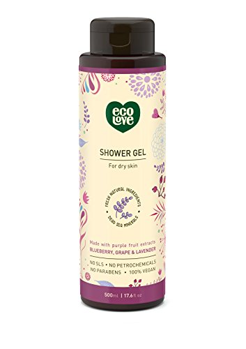 Lavender Chamomile Organic Liquid - 100% Vegan Shower Gel Body Wash by ecoLove | 17.6 oz. | Organic blueberry, grape & lavender For dry skin
