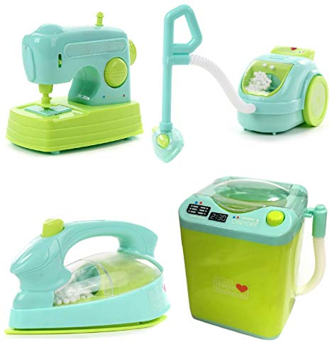 IndusBay® Kitchen and Household Utility Toy Set for Kids Working Household Appliances Set (Washing Machine, Vaccum Cleaner, Iron, Swing Machine ) with Light & Sound for Girls… 41FkrbjEbiL India 2021