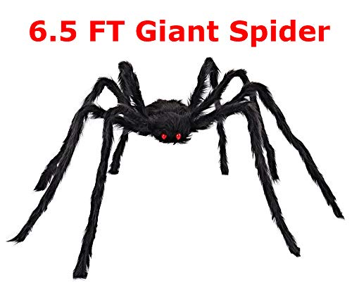 Jumping Spider Halloween Decorations (COOLJOY Giant Halloween Spider 6.5FT (78 INCH) Halloween Decorations Virtual Realistic Hairy Spider Halloween Outdoor)