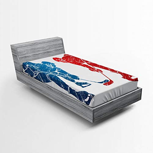 Lunarable Sport Fitted Sheet, Hockey Players Hobby Activity Themed Athletes Game Win Champion Olympics Illustration, Bed Cover with All-Round Elastic Deep Pocket for Comfort, Twin Size, Blue Red