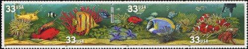 AQUARIUM FISH ~ CLOWNFISH ~ SEA URCHIN ~ STARFISH ~ ANGLEFISH #3320B Strip of 4 x 33 cents US Postage Stamps (Best Us Aquariums 2019)