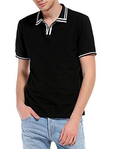 Price comparison product image T Shirt,  Han Shi Fashion Men's Slim Sports Polo Shirt Short Sleeve Casual Tank Tops (XL,  Black)