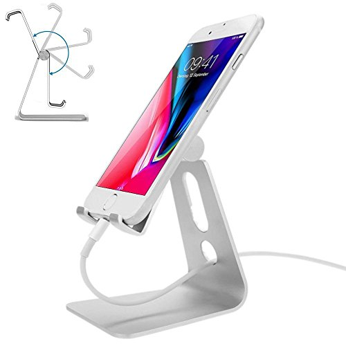 Adjustable Cell Phone Stand,Ahere Multi-Angle Aluminum Desktop Cell Phone Cradle, Dock, Stand for iPhone 6 6s 7 8 X Plus Samsung Galaxy All Android Smartphone Tablets,Silver by ahere