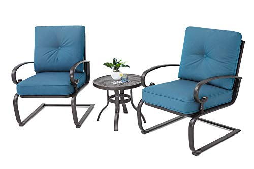 (Incbruce Outdoor Bistro Set 3-Piece Spring Metal Lounge Cushioned Chairs and Bistro Table Set|Wrought Iron Cafe Furniture Seat,Peacock)