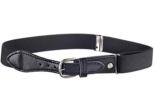 Buyless Fashion Kids Elastic Adjustable Stretch Belt with Leather Closure (Available in 21 Colors) - Black