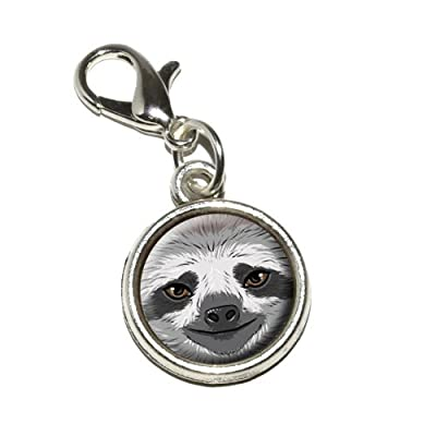 Graphics And More Sloth Face Antiqued Bracelet Pendant Zipper Pull Charm With Lobster Clasp - 0719926524988