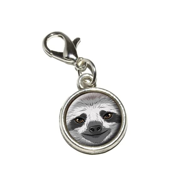 Graphics And More Sloth Face Antiqued Bracelet Pendant Zipper Pull Charm With Lobster Clasp -