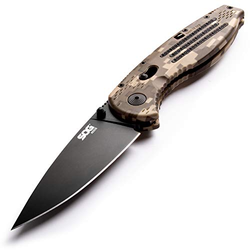 (SOG Folding Pocket Knife - Aegis EDC Spring Assisted Knife, Tactical Knife w/ 3.5 Inch Hunting Knife Blade and Survival Knife Digi Camo Grip (AE06-CP))