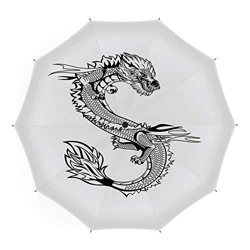 Folding Umbrella,Japanese Dragon,Auto Open Close Umbrella 45 Inch,Ancient Far Eastern Culture Esoteric Magical Monster Symbolic Thai Style Decorative]()