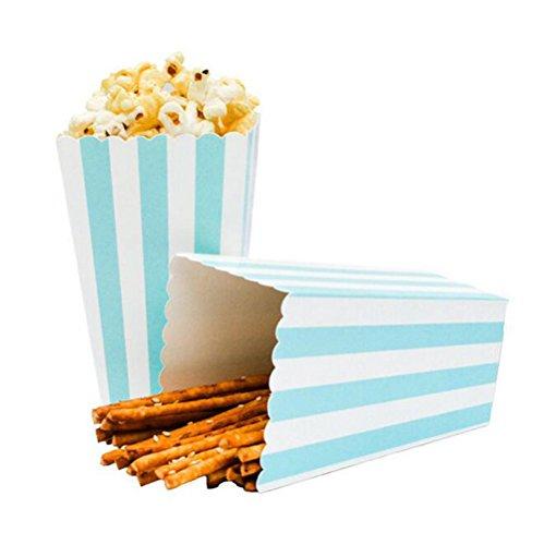 24pcs Striped Paper Popcorn Boxes for Party Favor Supplies (Blue)