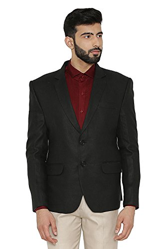 WINTAGE Men's Linen Tailored Fit Solid Evening/Casual Blazer Coat Jacket : Black, Small