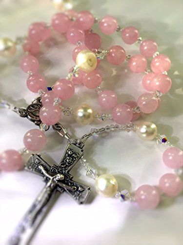 (Crowns, Roses and Stars Rosary ~ Rose Quartz and Freshwater)