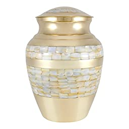 Perfect Memorials Large Brass Mother Of Pearl Cremation Urn