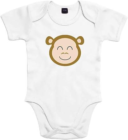 SUPERMOLON Body bebé algodón Monito 3 meses Blanco Manga corta ...